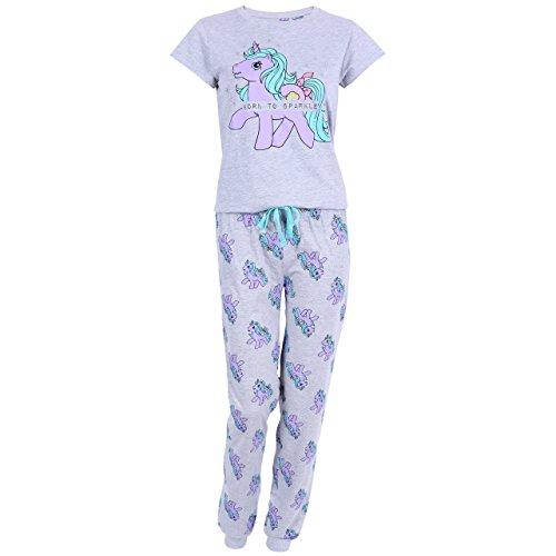Hasbro My Little Pony Damen 2-tlg.Schlafanzug-Set Pyjama Nachtwäsche lang grau - 40-42 / UK 14-16 / EU 42-44