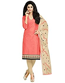 3853a50aa8 Applecreation GREAT INDIAN SALE OFFER offer unstitched dress material Peach  Embroidered Modal Butti Salwar Suit Kameez