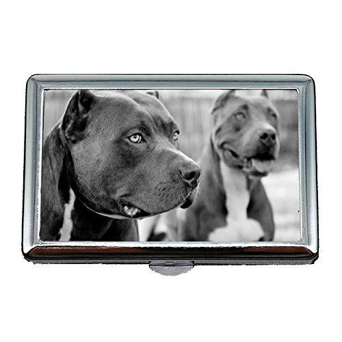 Zigaretten Box Kostüm - 14 Zigaretten Box Aufbewahrungskoffer, Französisch Bulldog Holding Pitbull Hund, Credit Visitenkartenetui Aufbewahrungsbox