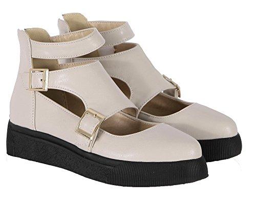 Talon Beige VogueZone009 à Boucle Mélangee Légeres Matière Rond Chaussures Femme Bas X7wgq76T