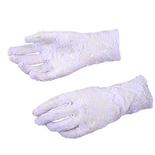 little sporter Spitze Handschuhe Sommer Sonnenschutz Damen Handschuhe Spitzenhandschuhe Netzhandschuhe Fahrradhandschuhe Brauthandschuhe Für Hochzeit Party Abend Weiß (Weiße Spitzen Handschuhe)