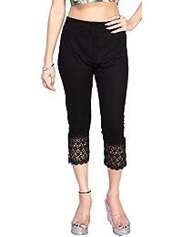Comix Women Cotton Lycra Fabric Comfort Fit Knee Length Plain Stretchable Capri