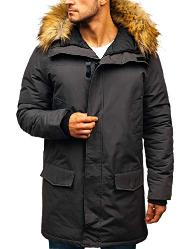 BOLF Herren Winterjacke Kapuze Wintermantel Parka Casual Style J.Style 201810 Dunkelgrau S [4D4] | 05902646950082