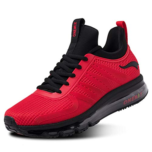ONEMIX Chaussures de Running Compétition Homme Outdoor Gym Fitness Sport Air Sneaker Casual 1191Black/Red47