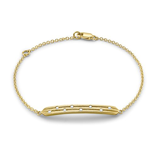Carissima Gold Damen-Armband Satin Bar 375 Gelbgold Diamant (0.08 ct) weiß Rundschliff 18 cm - 1.28.265G