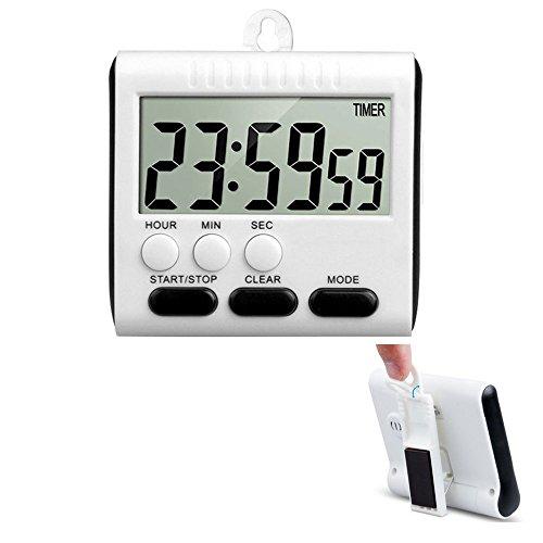 KOBWA Digital Elektronischer Timer,24h Magnetische KüchenTimer Küchenuhr Kurzzeitmesser Stoppuhr mit Laut Alarm,Großem Display-Bildschirm,Einziehbare Standplatz Hook,Starke Magnetische Rückseite
