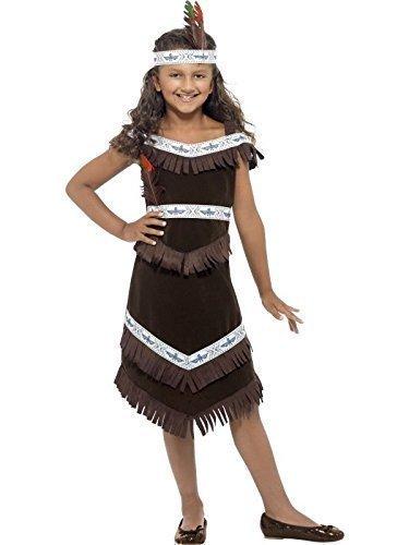 Kinder Mädchen oder jungen Indianer Cherokee Warrior Chief Cowboy & West Kostüm Kleid Outfit 4-12 years - Mädchen, 4-6 (Kostüme Indianer Krieger)