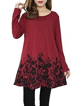 Hibote Mujer Camisa Tops Mangas largas Mujeres Blusas de mujer Casual Camiseta Mini Vestidos con estampado flores...