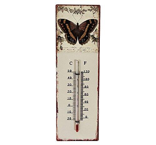 zeitzone Wandthermometer Schmetterling Thermometer Vintage Nostalgie Blechschild