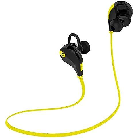 SoundPEATS Auriculares Bluetooth 4.1 cascos Deportivos Inalámbricos Estéreo Auriculares con micrófono para correr y gimnásio, ejercicio , resistentes al agua y sudor, Manos Libres Compatible con iPhone, iPad, iPod, Teléfonos Móviles, Tablets, y otros dispositivos - QY7 (Negro/Amarillo)
