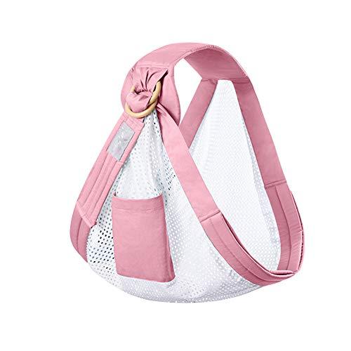 Portabebés prémium, anillo ajustable, cinturón de lactancia, doble uso, ligero, para recién nacidos, suave pañuelo de algodón adecuado para bebés y niños pequeños. Tamaño libre Rosa