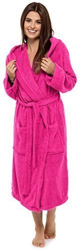 Best Deals Direct Insignia Damen Bademantel Frottee Spa Hotel 100% Baumwolle Robe - hot pink mit Kapuze, Medium