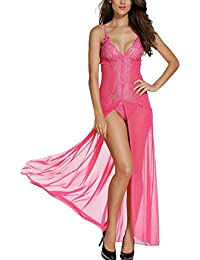 Las mujeres atractivas del vestido elegante del cordón largo de la ropa interior del baño de la muñeca de la ropa de noche de la correa