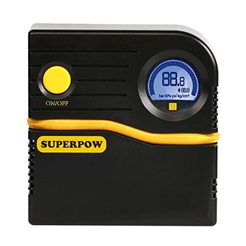SUPERPOW 12V DC Auto Luftkompressor, 120PSI Tragbar Luftpumpe und LCD/LED Digitaler Manometer mit 3M kabel für Autos,Fahrräder und Basketbälles