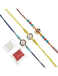 Tied Ribbons Set Of 3 Premium Rakhi For Bhai With Rakshabandhan Special Card