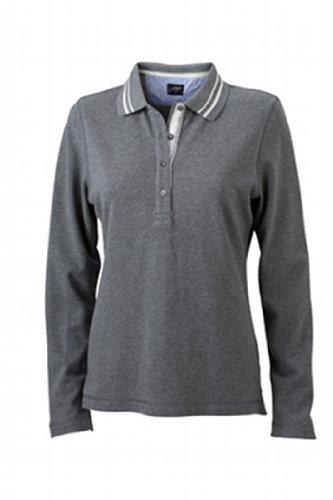 James & Nicholson Damen Poloshirt  Ladies' Long-Sleeve Large grey-melange/off-white