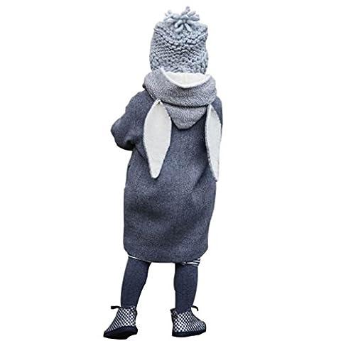 Mantel Mädchen Kolylong® 1 PC ( 1-8 Jahre alt) Baby Mädchen Jungen Herbst Winter Hoodies Mantel Kaninchen Cartoon Jacke Kinder Oberbekleidung Warme Kleidung (140CM(6-7Jahre alt), Grau)
