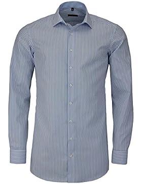 ETERNA Slim Fit Hemd Langarm mit Besatz Streifen hellblau
