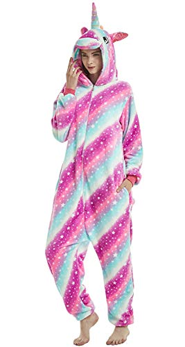 Adulto e bambino unisex unicorno tigre leone volpe tutina animale cosplay pigiama costume di carnevale di halloween fancy dress loungewear (unicorn star-sky, 140# altezza di130-140 cm)