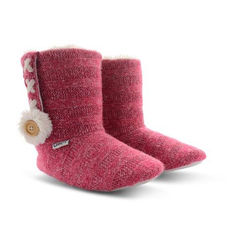 Coolers Damen Stiefel-Hausschuhe mit Fell gefüttert, Micro-Wildleder, leicht, Größen 35-42 Fuchsia Stiched
