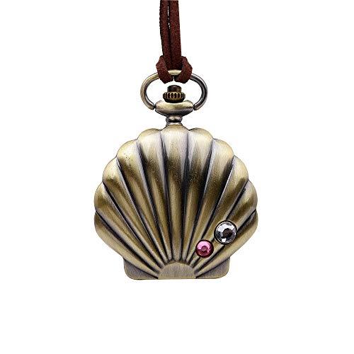 SGRMYS Anime Mermaid Diamond Taschenuhr Halskette Fashion Retro Pearl Shell Bronze Student Taschenuhr - Mermaid Tanz Kostüm
