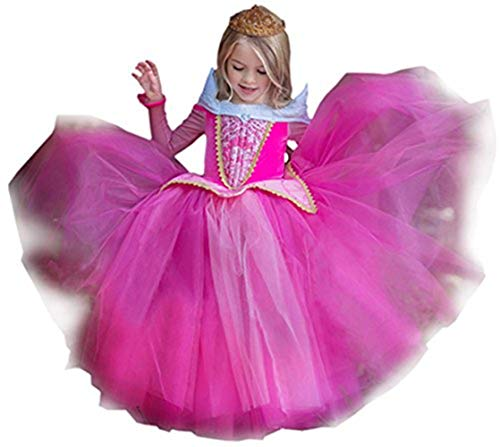Prinzessin Kleid Grimms Märchen Kostüm Cosplay Mädchen Halloween Kostüm Aurora#2 Gr.110