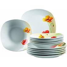 domestic papavero vajilla cuadrada de porcelana platos llanos y platos hondos
