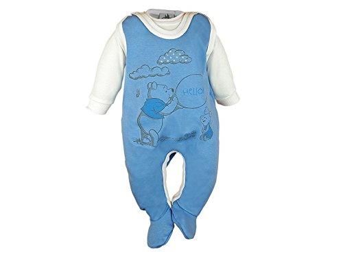 Baby-Strampler Set Winnie The Pooh mit Füßchen, Spiel-Anzug mit Druckknöpfen, Baby-Schlafanzug mit Body LANG-ARM und Strampler ÄRMELLOS, Grösse 56, 62, 68, 74 Color Rosa, Size 62 ()