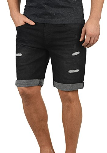 Indicode Hallow Herren Jeans Shorts Kurze Denim Hose Mit Destroyed-Optik Aus Stretch-Material Slim Fit, Größe:S, Farbe:Black (999)