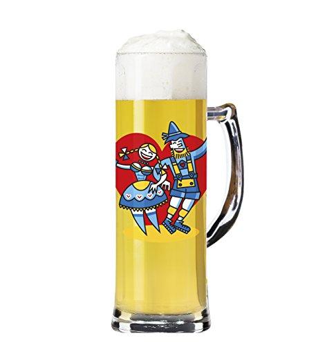 RITZENHOFF Seidel Bierkrug 0,5 l von Thomas Marutschke, aus Kristallglas, 500 ml, mit fünf Bierdeckeln