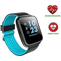 Hangang Bluetooth Smart Watch moniteur de pression sanguine de la fréquence cardiaque Smartwatch pour homme appel Message rappel Wearable appareils Vacances Cadeau montre