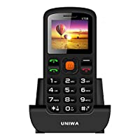 Uniwa V708 Big Button Mobile Phone For Elderly - SOS Mobile Phone - Bluetooth Functionality - Unlocked Senior Mobile Phone - Dual SIM card and FM Radio by Loud Speaker - Easy to use