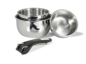 Sitram Lot de 3 casseroles avec poignée amovible Acier inox 16/18/20 cm