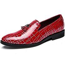 HILOTU Hombres Zapatos Oxfords Mocasines Casuales Suela de Borla Cómoda Charol Zapatos de Vestir Formales de