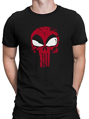 vanVerden Herren Fun T-Shirt Red Comic Skull Us Army Military Totenkopf Plus Geschenkkarte, Größe:L, Farbe:Schwarz - Logo Schwarz Army Navy T-shirt