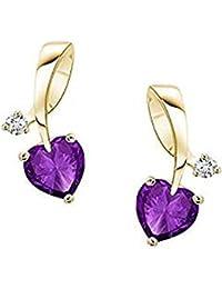 Lilu joyas pendientes con amatista púrpura con forma de corazón Niñas Pendientes con 14K chapado en oro plata de ley 925