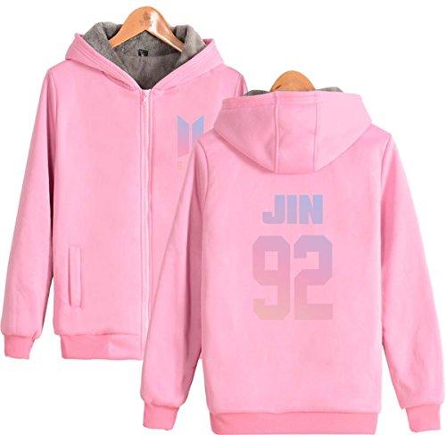 SERAPHY Unisex Felpa BTS Felpe con cappuccio calde con zip e felpa spessa Suga Jin Jimin Jung Kook J-Hope Rap-Mostro V rosa-92-JIN