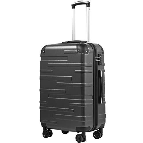 COOLIFE Hartschalen-Koffer Rollkoffer Reisekoffer Vergrößerbares Gepäck (Nur Großer Koffer Erweiterbar) ABS 3-teiliges Set mit TSA-Schloss und 4 Rollen (Grau, Großer Koffer)