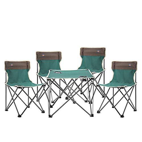 DOSNVG Ultralight Outdoor Klappstuhl Campingmöbel Set, Faltbarer Tisch mit 4 Stühlen 5 Stück für Familienurlaubsreisen selbst Fahren Picknick Wandern BBQ Angeln Garten, Green