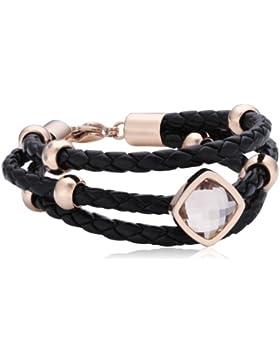 s.Oliver Damen-Armband Edelstahl Leder Glas weiß 46596