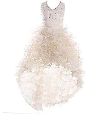 FAIRY COUPLE Vestido de satén y organza en capas Hi-lo Niñas Formal Vestido de Comunión K0025