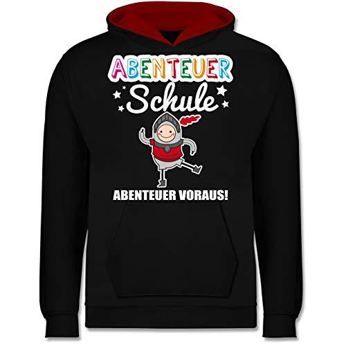 Shirtracer Einschulung und Schulanfang - Abenteuer Schule Ritter Abenteuer voraus! - 9-11 Jahre (140) - Schwarz/Rot - JH003K - Kinder Kontrast - Girl Blue Link Kostüm