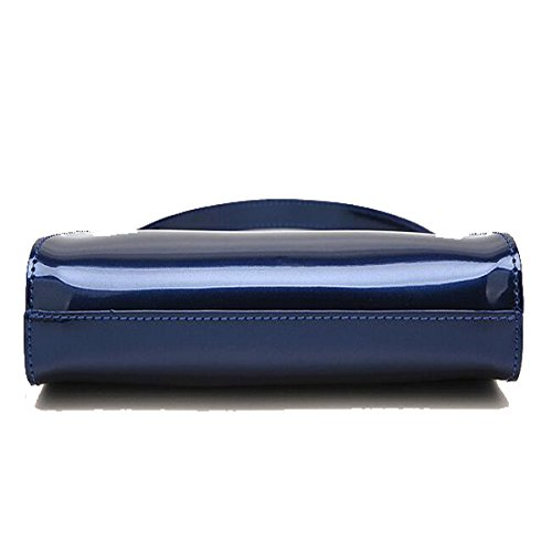 Modische Handtaschen Lackleder glänzend Handtaschen Kette kleine Tasche Schulter Messenger Bag Blau