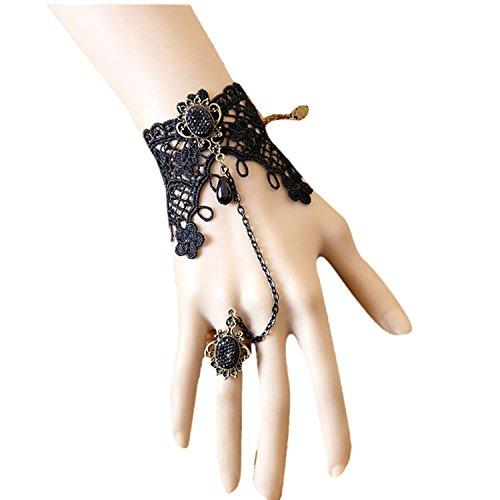 TOOGOO(R) Retro Femmes Filles Dames Dentelle Chaine Bande Bracelet Avec Bague Et joyau bijoux pour Costume Bal Fantaisie Bal Mascarade - Noir