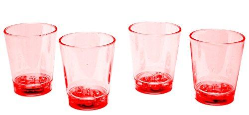 LED-Highlights Glas Becher Schnapsglas 60 ml 4 er Set LED rot Bar Kunststoff Trinkglas mit Batterie