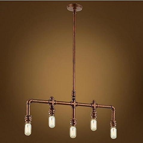 Lightess Industrial Vintage Rustic Steampunk Metal Water Pipe Retro Ceiling Pendant 5 Lights Edison Lamp Chandelier, Copper