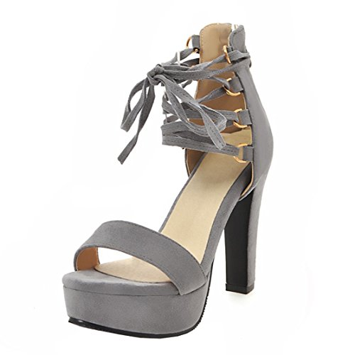 AIYOUMEI Damen Blockabsatz Plateau Sandalen Zum Schnüren Offene High Heels Sandaletten mit Reißverschluss Hochzeit Schuhe