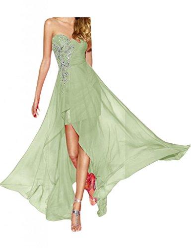 Gorgeous Bride Fashion Herz-Ausschnitt Empire Chiffon Hi-Lo Lang Abendkleid Festkleid Ballkleid Sage