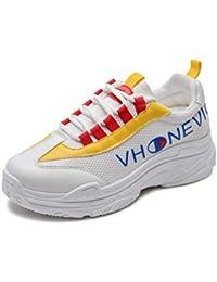 Vansney Moda Mujer Chunky Sneakers Mocasines Confort Señoras Mesh Vamp de Trabajo Cordones Planos Entrenadores Deportes Correr Senderismo Grueso Inferior Plataforma Zapatos
