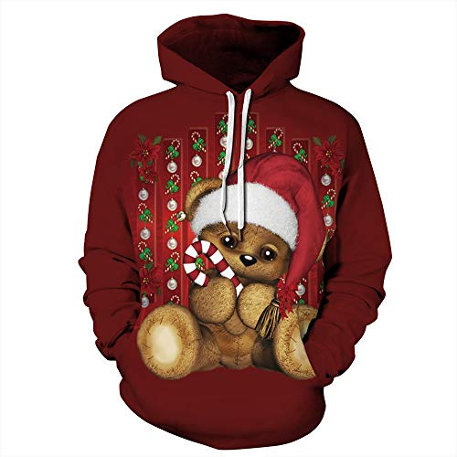 Mens Womens 3D Funny Print Christmas Animal Hoodie Sweatshirts Casual Printed Kangroo Pocket Pullover S